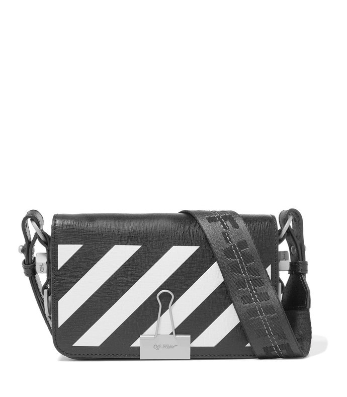 mini striped textured-leather shoulder bag