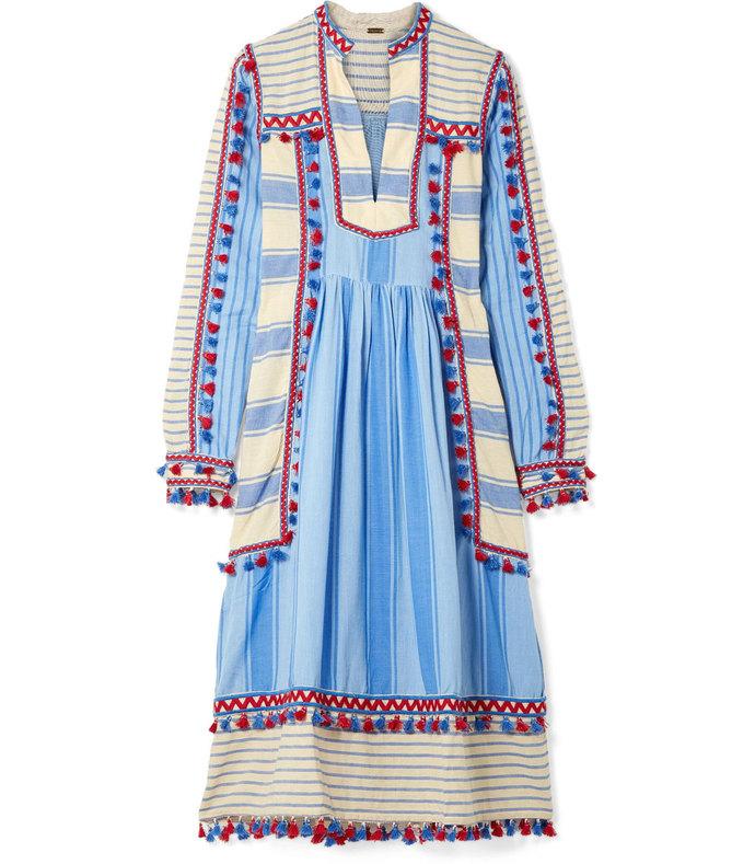 Tasseled Striped Cotton-Gauze Midi Dress aff- 1013256