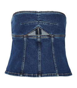 cutout denim bustier top