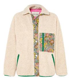 bayside floral jacquard-paneled fleece jacket