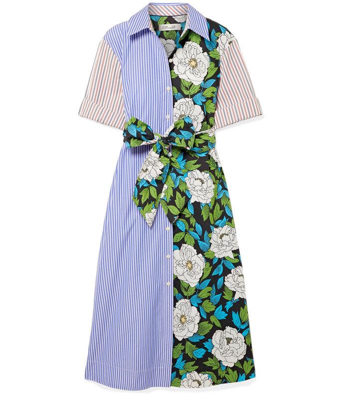 Patchwork-Effect Cotton-Twill Midi Dress aff-1041400