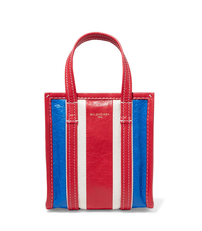 bazar xxs striped textured-leather tote