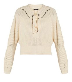laley lace-up cotton-blend sweater