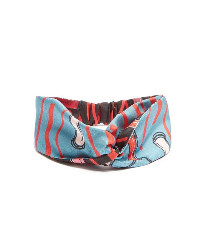 blue lipstick print headband