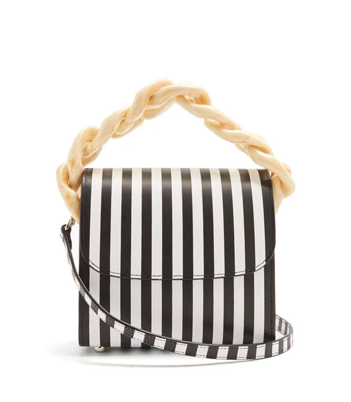 oversized curb-chain striped leather shoulder bag