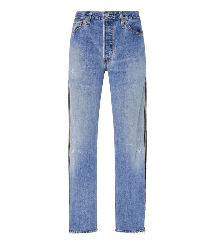 Side-Zip High-Rise Straight-Leg Jeans aff-630681