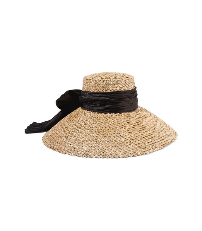 mirabel satin-trimmed straw hat