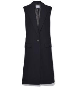 navy sleeveless ribbon coat