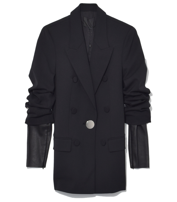 black single breasted peaked lapel jacket