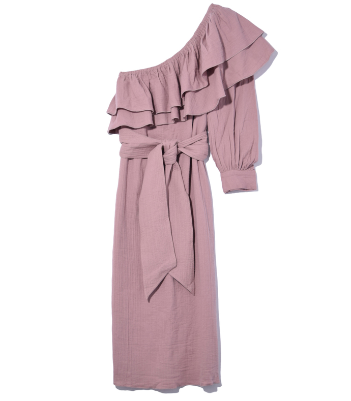 mauve rock rose bare shoulder dress