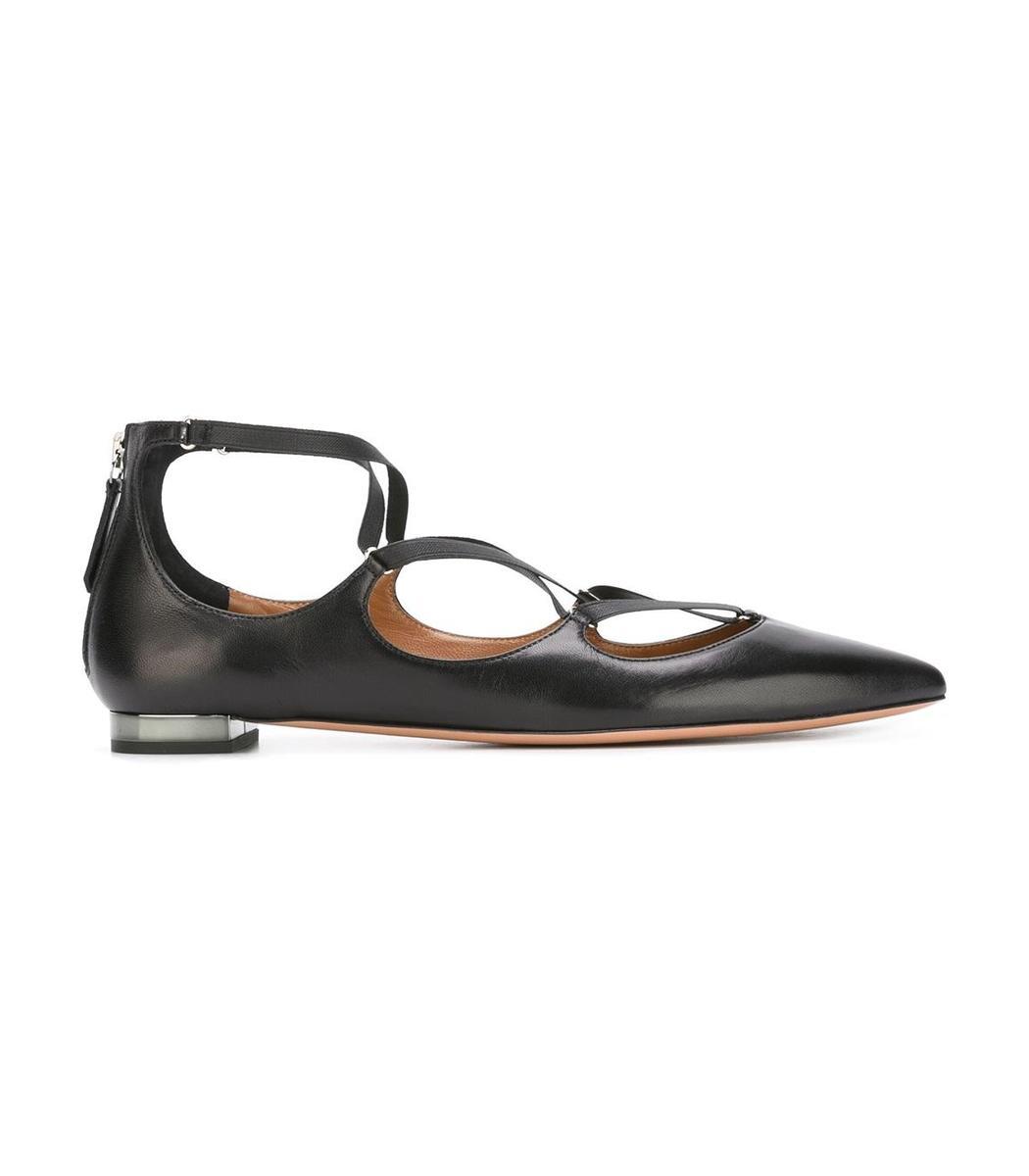 Aquazzura Leathers Black 'Christy' Ballerina Flat