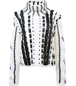 white & black leather stitch sweater