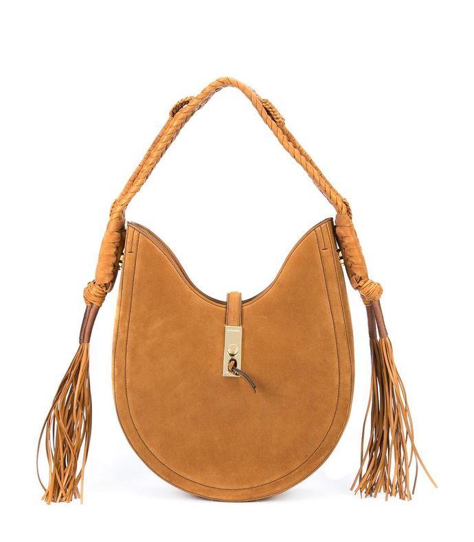 brown bull rope hobo bag