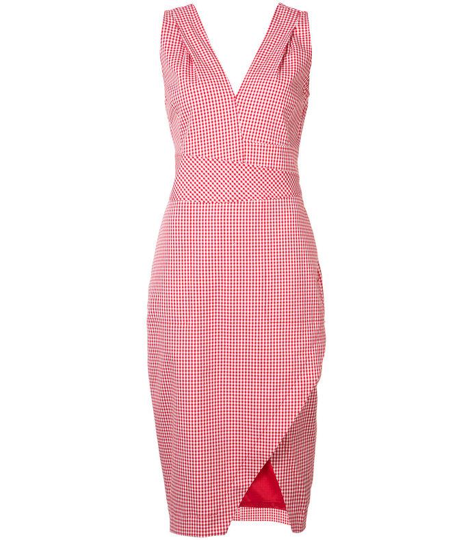 red v-neck sleeveless gingham fitted dress