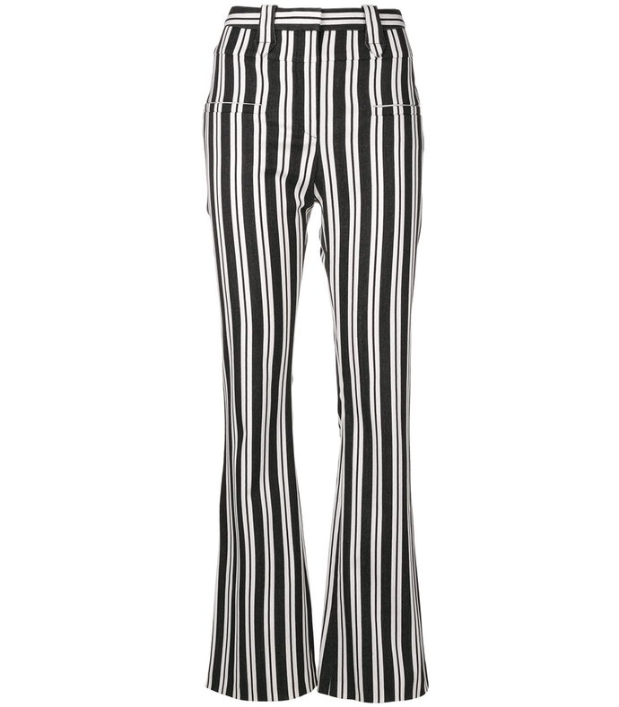 black/white serge vertical striped trousers