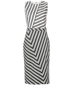 black/white desdemona sleeveless striped midi dress
