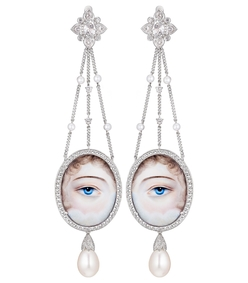 white silver and pearl eye drop earrings