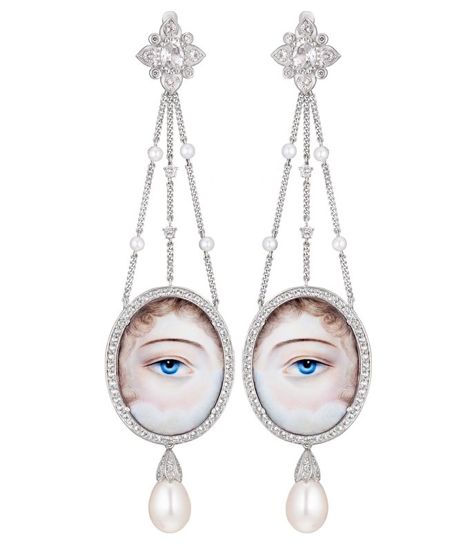 white silver and pearl eye drop earrings