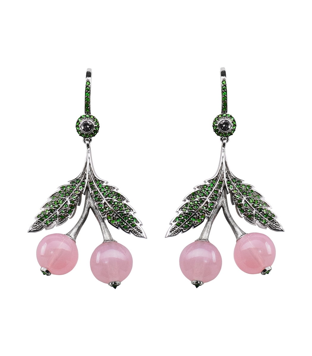 AXENOFF JEWELLERY Pink Cherry Quartz Earring