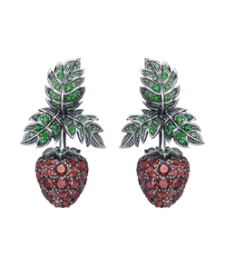 green red raspberry earrings