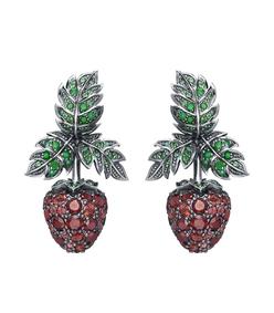 green red raspberry earrings