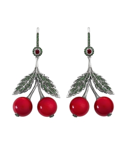 red cherry garnets earring