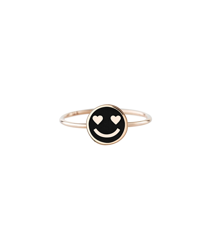 Enamel Hearts Smiley Ring
