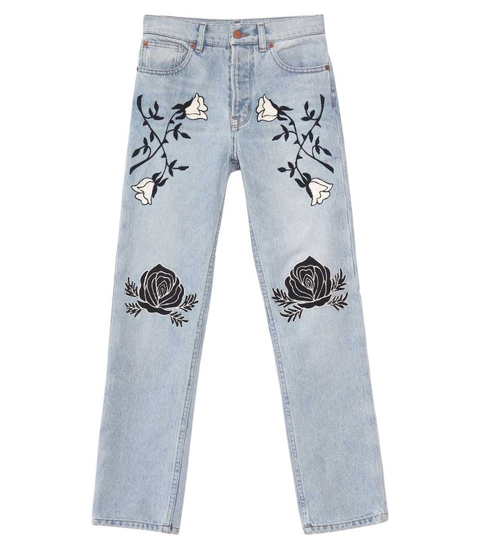 light blue 'conjure' embroidered jean