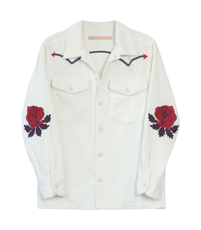 white 'rodeo' rose embroidered corduroy jacket