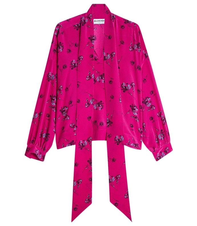 pink silk crepe printed blouse