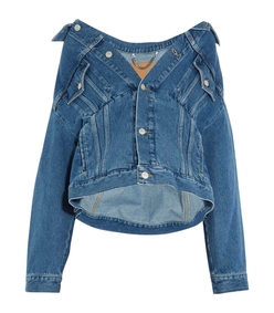 blue denim swing oversized jacket