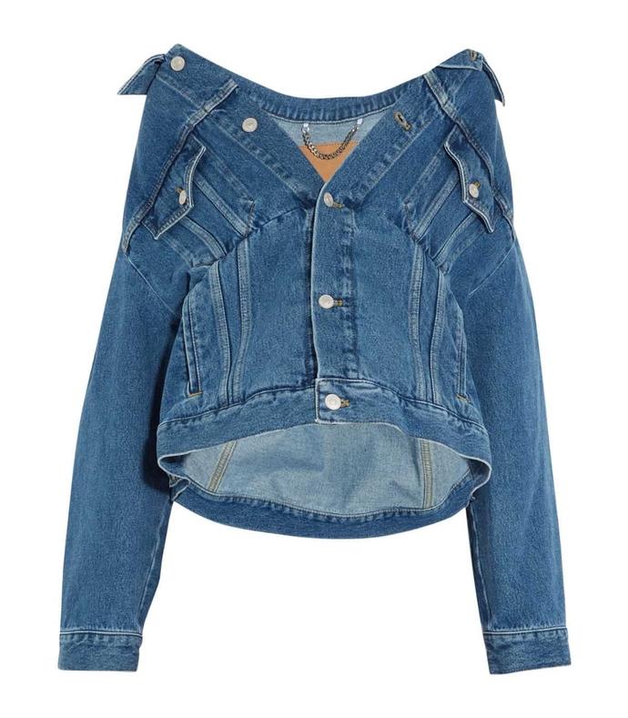 blue denim swing oversized jacket