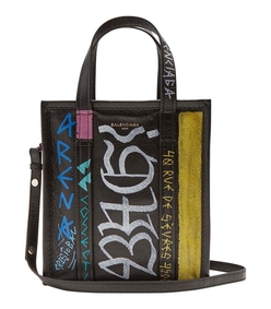 black multicolor graffiti xs bazaar shopper bag