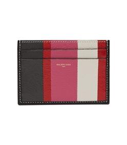 pink multicolor bazaar stripe leather cardholder bag