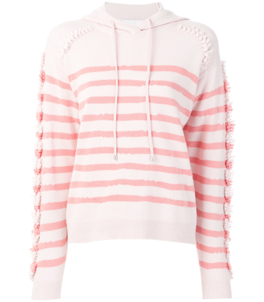 Barrie Pink/white Fringed Striped Hoodie