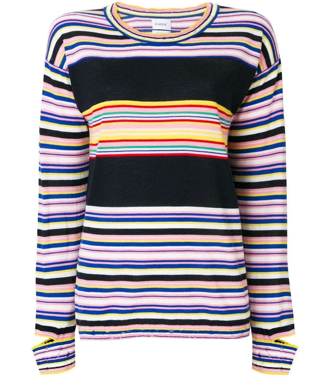 Barrie Multicolor Striped Fine Knit Sweater
