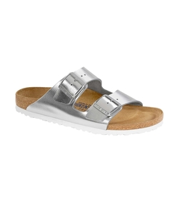 silver arizona soft footbed leather sandal