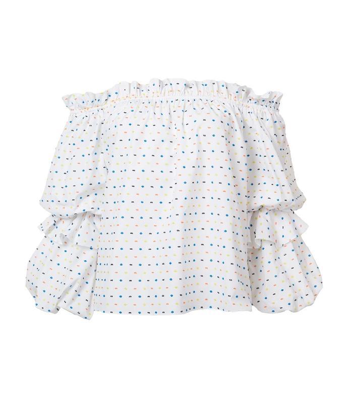white polka dot off-shoulder blouse