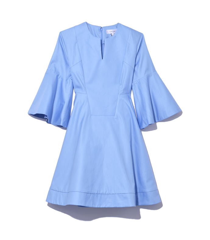 sky blue bell sleeve dress