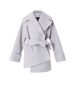 light grey belted boiled wool coat