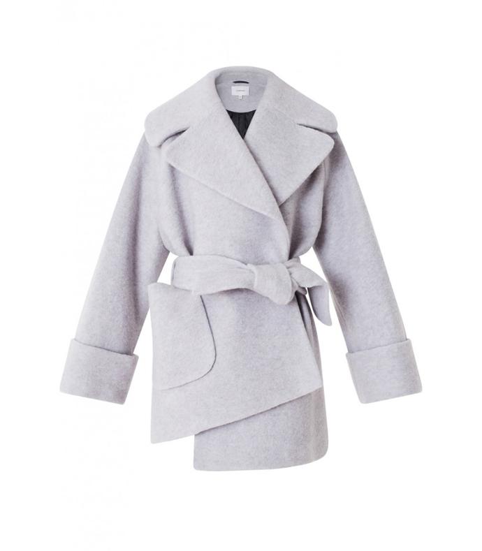light grey belted boiled wool coat