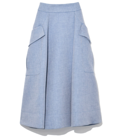 chambray midi skirt in steel blue