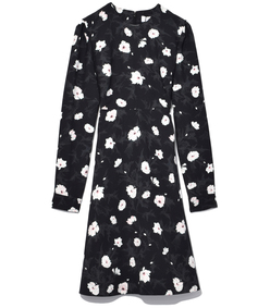noir crepe flared dress
