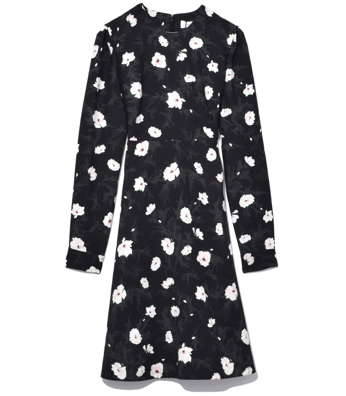 Noir Crepe Flared Dress 210000016814