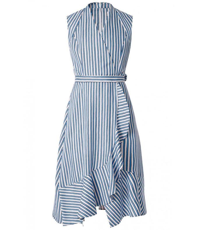 blue ruffled asymmetric dress