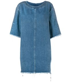 blue shredded hem denim dress