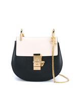 mini black & white 'drew' bag