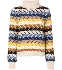 multicolor merino wool cashmere-blend turtleneck sweater