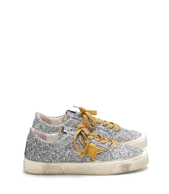 silver & gold star may sneaker