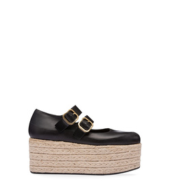 black buckle ballerina wedge